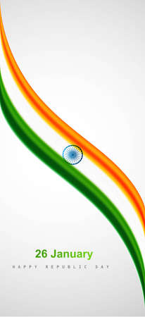 national colors: Indian Flag design with stylish wave on white background Illustration