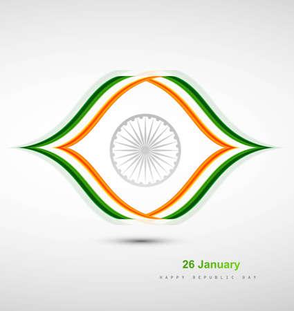 Indian Flag design with stylish wave illustration Vector