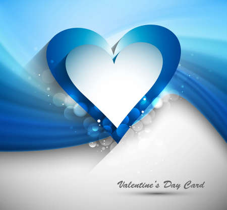 Heart Valentines day card with blue wave background vector Stock Vector - 17548609