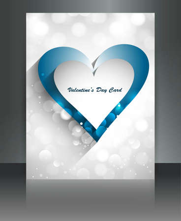 Shiny brochure reflection heart Valentine Days vector Stock Vector - 17548614