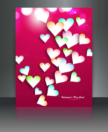 Beautiful brochure colorful hearts Valentines Day card illustration Stock Vector - 17548619