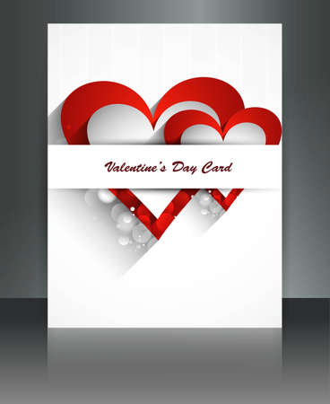 Valentine Days heart white  brochure fantastic card design Stock Vector - 17548629
