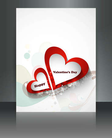 Valentine Days heart white  brochure celebration card illustration Stock Vector - 17548624