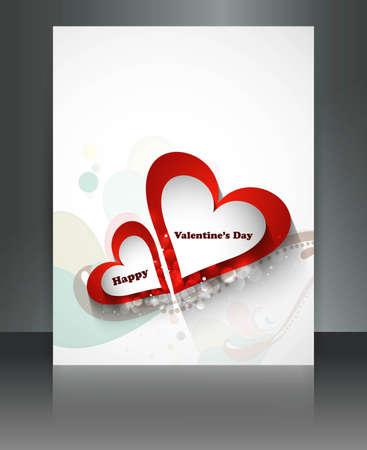 Valentine Days heart white  brochure celebration card illustration Stock Vector - 17548624