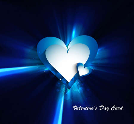 Valentines day blue bright colorful shiny rays heart vector illustration Stock Vector - 17548642