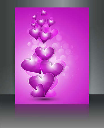 Valentine Days hearts bright colorful  brochure love card illustration Stock Vector - 17548675