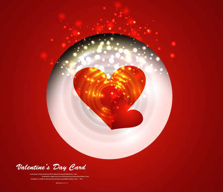 Heart Valentines Day red background fantastic card design vector Stock Vector - 17548677