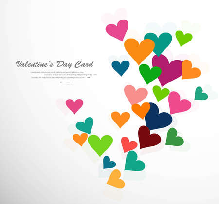 Vector colorful card valentines day hearts background  Stock Vector - 17548669