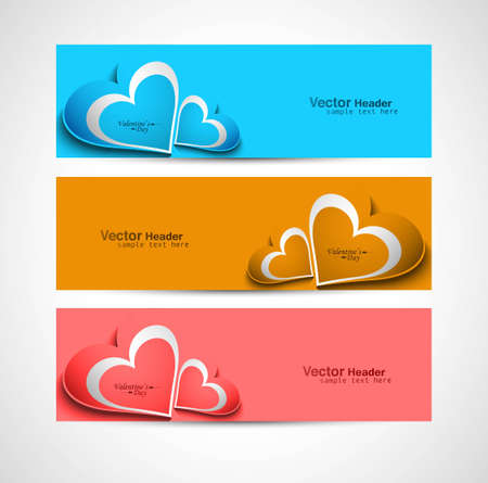 Valentines day colorful greeting card three header vector Vector