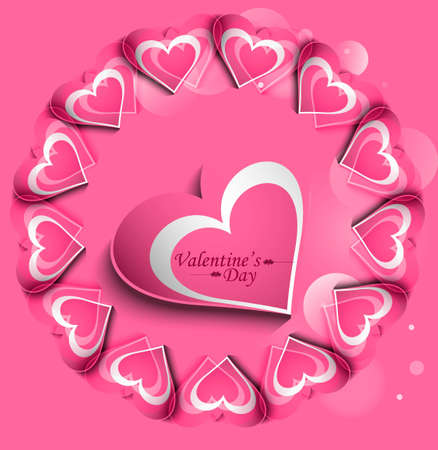 Pink Valentines day hearts circle love card vector Stock Vector - 17548702