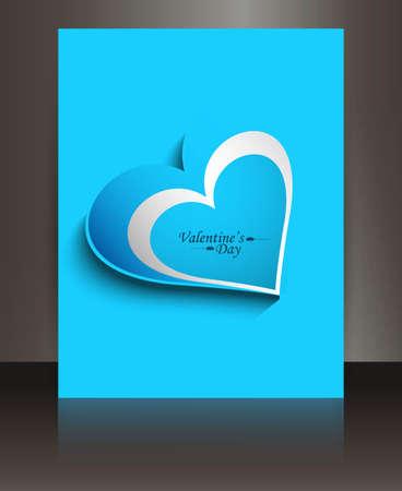 Fantastic blue single heart valentines day brochure vector Stock Vector - 17548713