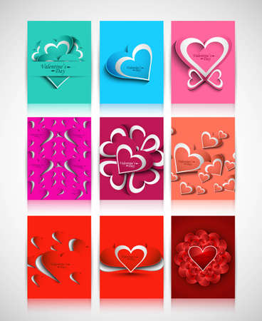 Beautiful Valentine's Day hearts brochure collection card design vector Stock Vector - 17679548