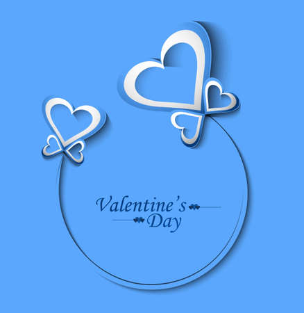 Beautiful Valentine's Day blue card background illustration Stock Vector - 17679535