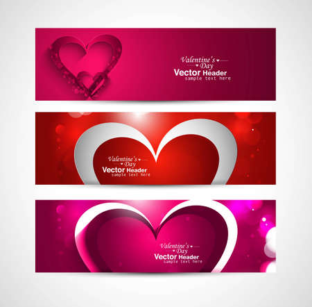 Valentines day colorful greeting card colorful three header design Stock Vector - 17679540