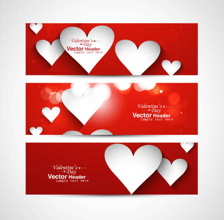 Beautiful Valentine's Day red colorful three header vector design Vector