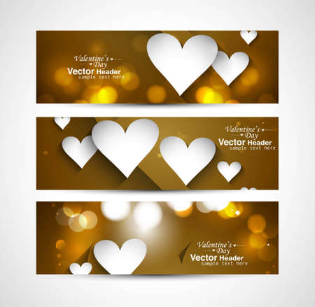 Fantastic Valentine's Day Set of stylish bright colorful header hearts vector Vector