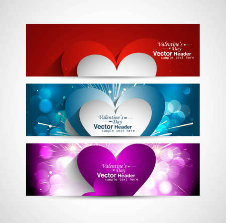 Valentine's Day Set of stylish colorful three header heart design vector Vector