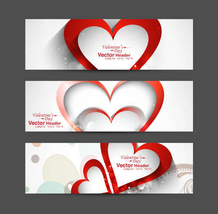 Valentine's Day Set of cute red heart vector header design Vector