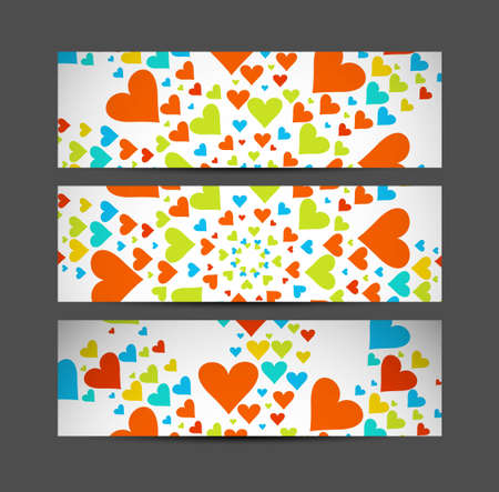 Valentine's Day Set of cute hearts header vector illustration Vector