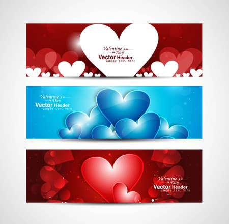 Valentine's Day colorful Set of shiny banners and header vector Vector