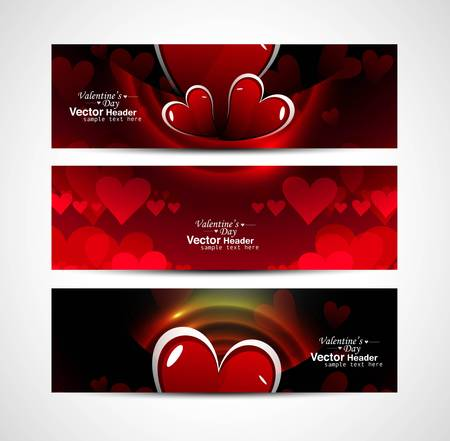 Set of shiny bright colorful hearts banners and header vector Vector