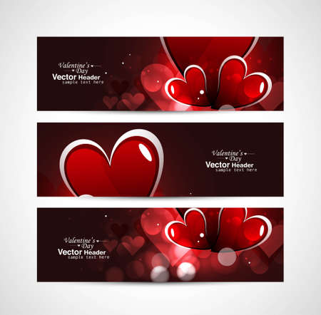 Valentines day bright colorful header vector white background Vector
