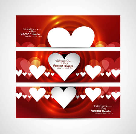 Valentine's Day design red header background hearts set vector illustration Vector