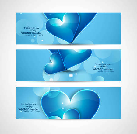 Valentine's Day design blue shiny header heart set vector Vector