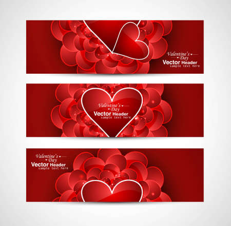 Valentines Day design red header card background vector illustration Vector