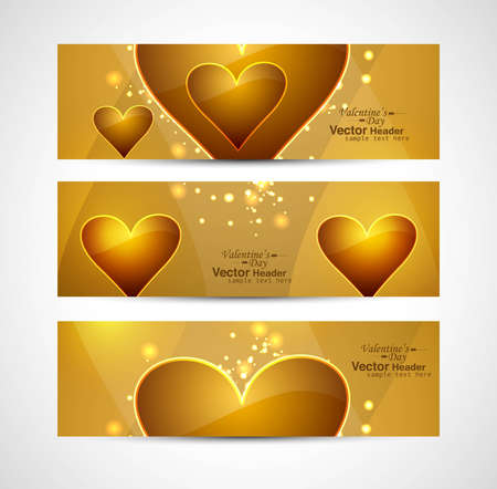 Valentine's Day colorful shiny header background hearts set vector Vector