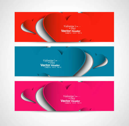 Creative Valentine's Day design colorful header set vector illustration Vector
