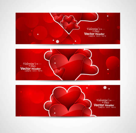 Red colorful heart Valentine's Day header design vector illustration Vector