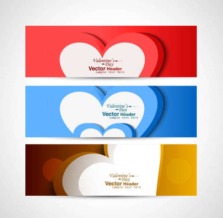 Three colorful heart Valentine's Day header set vector background Vector