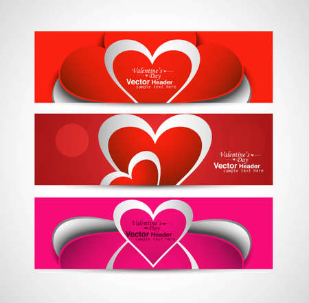 Valentine's Day colorful three header set vector illustration Vector