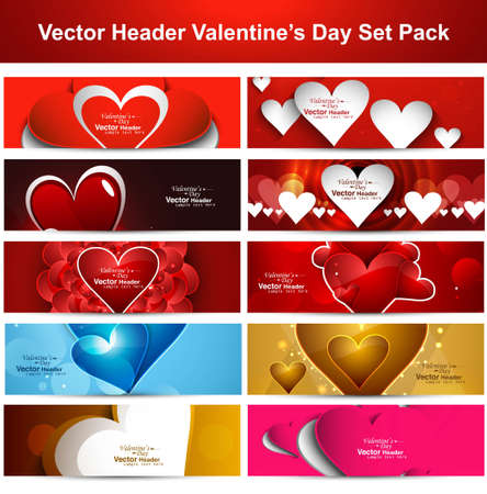 Valentine's Day colorful shiny hearts presentation headers collection background set vector Vector