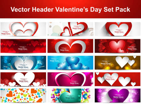 Valentine's Day colorful hearts 15 headers presentation collection set vector design Vector