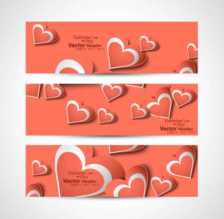 Valentine's Day colorful hearts website header or banner set vector Vector