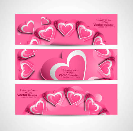 Valentine's Day pink colorful hearts website header or banner set design Vector
