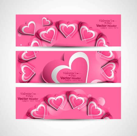 Valentine's Day pink colorful hearts website header or banner set design Stock Vector - 17679564