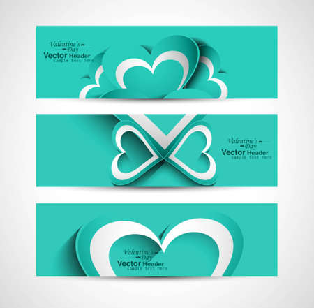 Valentine's Day colorful hearts presentation header or banner set background vector Vector