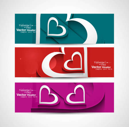 Love Valentine's Day colorful hearts celebration header set background vector Vector