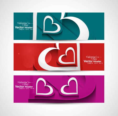 Love Valentine's Day colorful hearts celebration header set background vector Stock Vector - 17679576