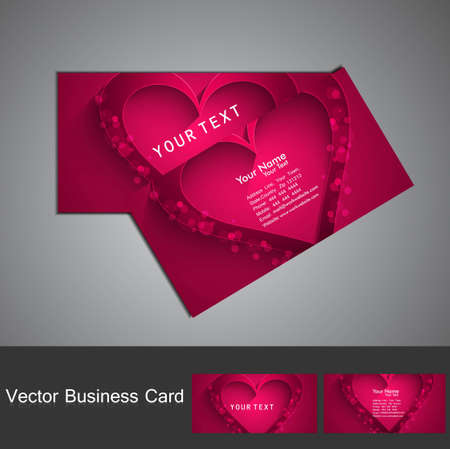 Valentine's Day colorful heart business card set design vector Stock Vector - 17679580