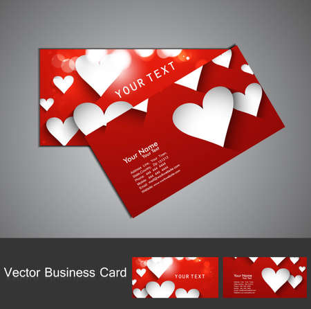 Valentine's Day colorful heart business card set vector illustration Stock Vector - 17679583