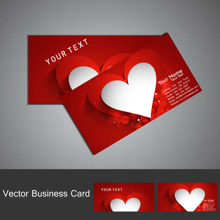 Business card set red colorful Valentine's Day heart stylish vector Stock Vector - 17679582