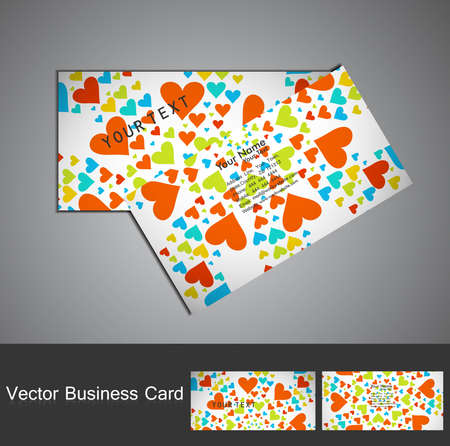 Business card set Valentine's Day colorful heart texture background vector Stock Vector - 17679579