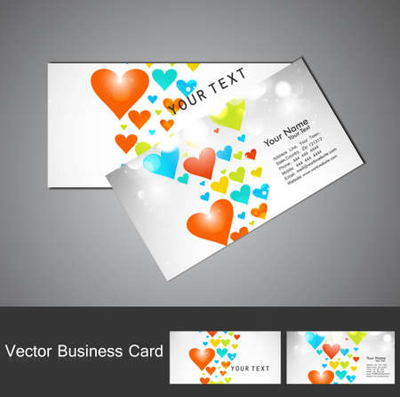Valentine's Day  Business card set colorful heart texture design Stock Vector - 17679597