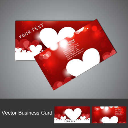 Red Valentines Day business card set colorful heart vector illustration Vector