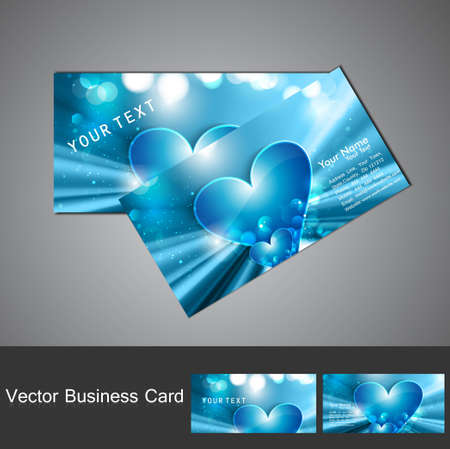 Blue Valentine's Day business card set vector Stock Vector - 17679589