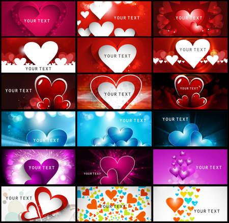 Creative Valentines Day bright colorful heart collection business card set vector illustration Illustration